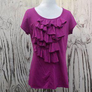 Simply Vera Ruffle Magenta Embellished T-shirt - L